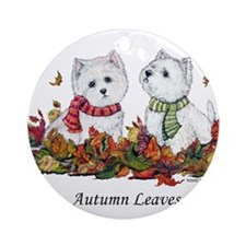 West Highland White Terrier Leaves Ornament (Round