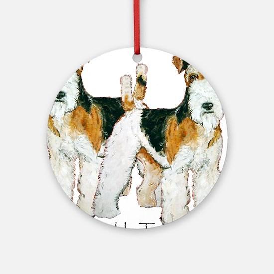 Double Trouble Wire Fox Terri Ornament (Round)
