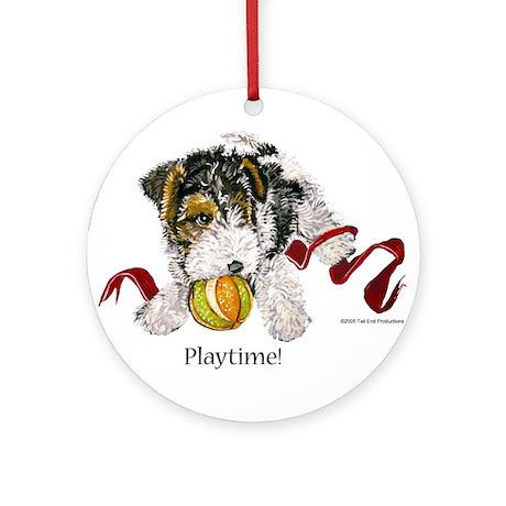 Fox Terrier Puppy Ornament (Round)