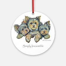 Yorkshire Terrier Puppies! Ornament (Round)