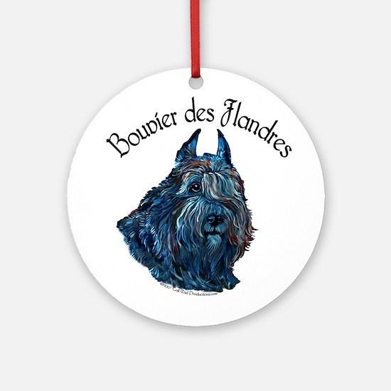 Bouvier des Flandres Black Ornament (Round)