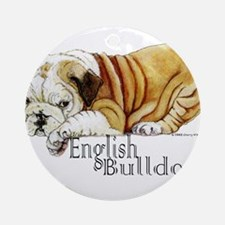 Bulldog Puppy Ornament (Round)