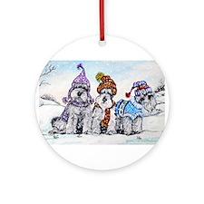 Schnauzer Winter Holiday Ornament (Round)