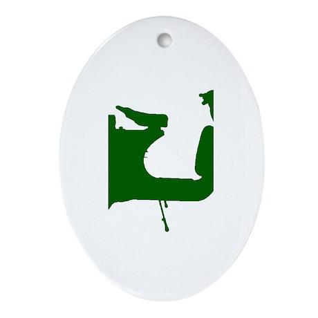 Green Vespa Sillouette Ornament (Oval)