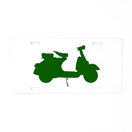 Green Vespa Sillouette Aluminum License Plate