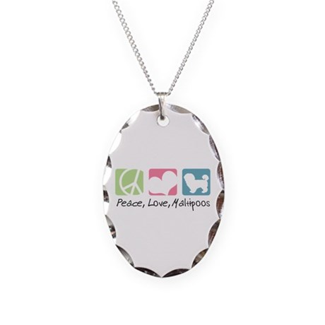 Peace, Love, Maltipoos Necklace Oval Charm