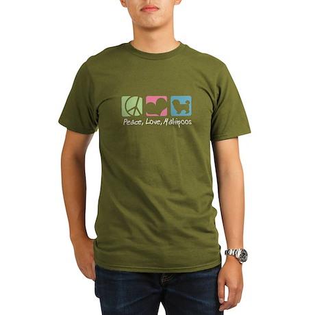 Peace, Love, Maltipoos Organic Men's T-Shirt (dark