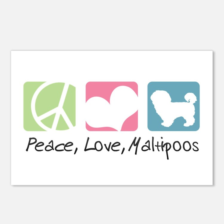 Peace, Love, Maltipoos Postcards (Package of 8)