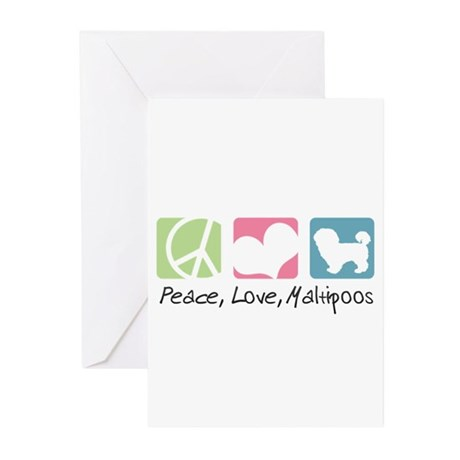 Peace, Love, Maltipoos Greeting Cards (Pk of 10)