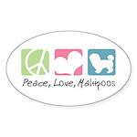 Peace, Love, Maltipoos Sticker (Oval 10 pk)