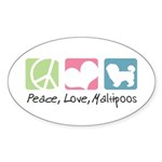 Peace, Love, Maltipoos Sticker (Oval 50 pk)