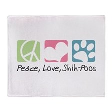 Peace, Love, Shih-Poos Throw Blanket