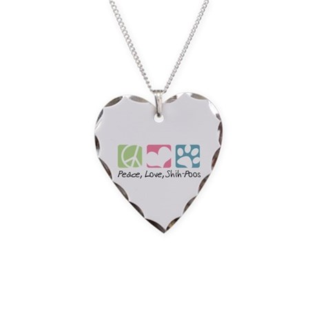 Peace, Love, Shih-Poos Necklace Heart Charm
