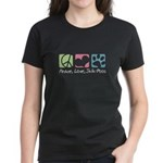 Peace, Love, Shih-Poos Women's Dark T-Shirt