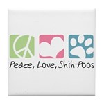Peace, Love, Shih-Poos Tile Coaster