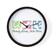 Peace, Love, Shih-Poos Wall Clock