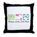 Peace, Love, Shih-Poos Throw Pillow