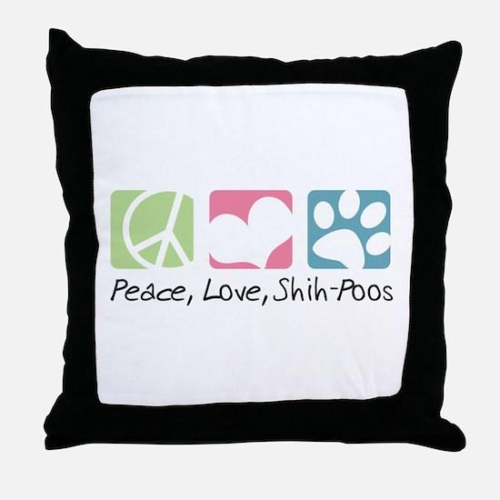 Peace, Love, Shih-Poos Throw Pillow