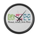Peace, Love, Shih-Poos Large Wall Clock