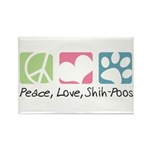 Peace, Love, Shih-Poos Rectangle Magnet (100 pack)