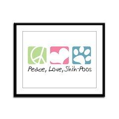 Peace, Love, Shih-Poos Framed Panel Print