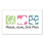 Peace, Love, Shih-Poos Sticker (Rectangle)