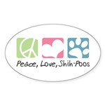 Peace, Love, Shih-Poos Sticker (Oval 10 pk)