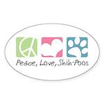 Peace, Love, Shih-Poos Sticker (Oval 50 pk)