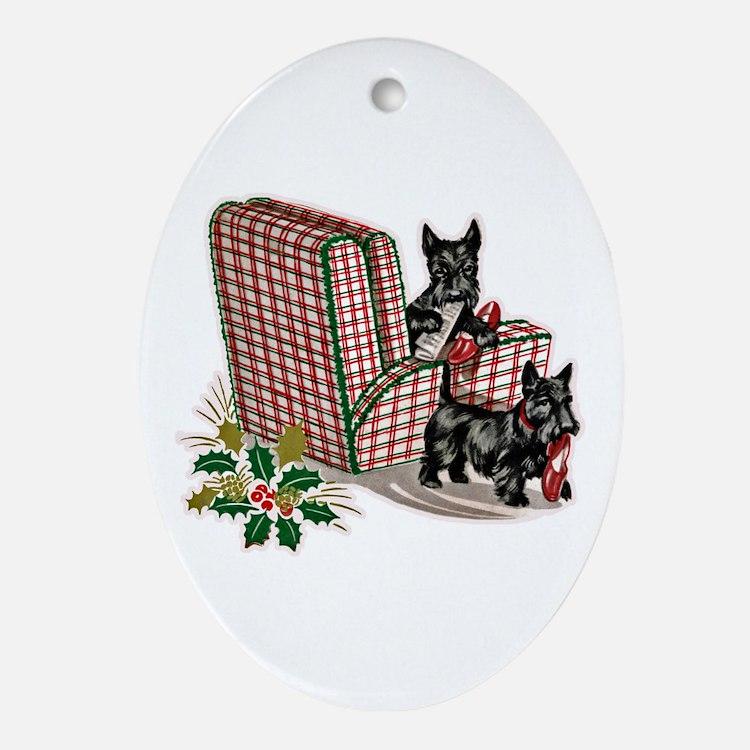 Scottie Dog Christmas Ornament (Oval)