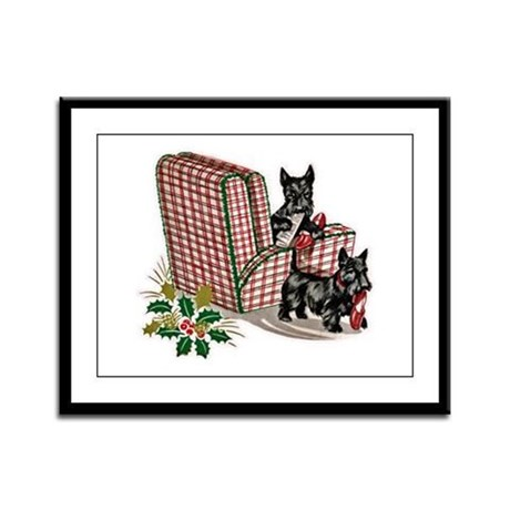 Scottie Dog Christmas Framed Panel Print