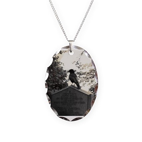 Crow Necklace with Oval Charm