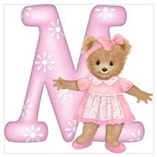 Teddy Alphabet M Pink Canvas Art
