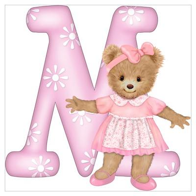 Teddy Alphabet M Pink Poster