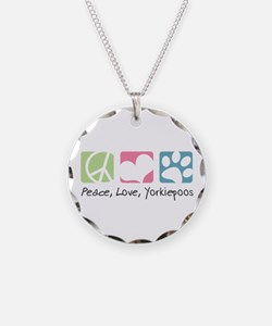 Peace, Love, Yorkiepoos Necklace Circle Charm