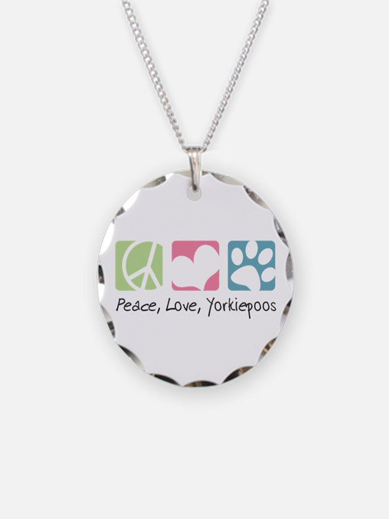 Peace, Love, Yorkiepoos Necklace Circle Charm