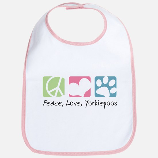 Peace, Love, Yorkiepoos Bib