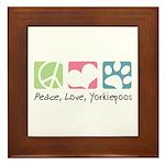 Peace, Love, Yorkiepoos Framed Tile