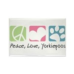 Peace, Love, Yorkiepoos Rectangle Magnet (10 pack)