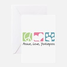 Peace, Love, Yorkiepoos Greeting Card
