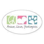 Peace, Love, Yorkiepoos Sticker (Oval 50 pk)
