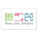 Peace, Love, Yorkiepoos Sticker (Rectangle 50 pk)