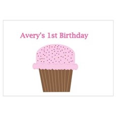 Avery's First Birthday Cupcak Poster