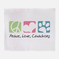Peace, Love, Cavachons Throw Blanket