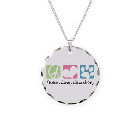 Peace, Love, Cavachons Necklace Circle Charm