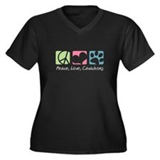 Peace, Love, Cavachons Women's Plus Size V-Neck Da