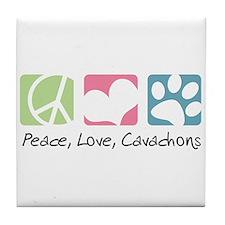 Peace, Love, Cavachons Tile Coaster