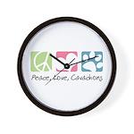 Peace, Love, Cavachons Wall Clock