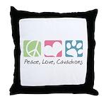 Peace, Love, Cavachons Throw Pillow