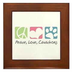 Peace, Love, Cavachons Framed Tile