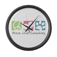 Peace, Love, Cavachons Large Wall Clock